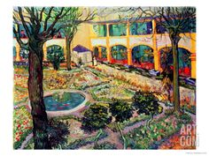 The Asylum Garden at Arles, c.1889 Giclee Print by Vincent van Gogh at Art.com