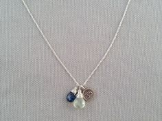 Handmade Necklace with Prehnite, Kyanite, Om charm by Indiana Jewelry Artist, Amber Bryce.