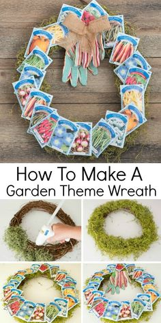 How to make a garden themed front door wreath for spring or summer using supplies from the dollar store. #frontdoorwreath #diywreath #springwreath #summerwreath #dollarstorecrafts