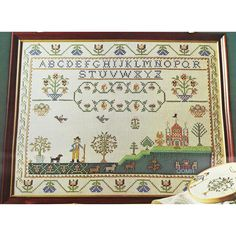 Paragon ALPHABET SAMPLER Stamped Cross Stitch Kit Catharine Ann Speel Whitman Sampler by NeedleLittleTherapy on Etsy