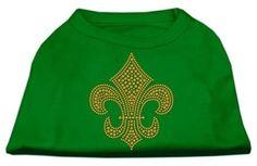 Gold Fleur de Lis Rhinestone Shirts Emerald Green XXXL (20)