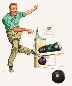 Turkey Bowling. Detail from 1952 Miller High Life Beer ad.