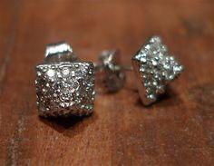 Sugar Bean Platinum Plated Pyramid Stud Earrings