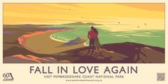 Image: Fall in Love Again Poster for anniversary of the Pembrokeshire Coast National Park, 2012 © Pembrokeshire C. Falling In Love Again, National Park Posters, National Parks, Wales Tourism, Pembrokeshire Coast, Beauty Illustration, Website Illustration, Flat Illustration, Tourism Poster