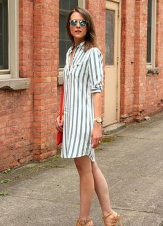 Outfits With Striped Dresses Stitch Fix spring summer outfits, style, clothing, fashion, striped dress Mode Outfits, Dress Outfits, Casual Dresses, Fashion Dresses, Casual Attire, Casual Heels, Cute Casual Outfits, Chic Outfits, Shirtdress Outfit