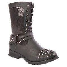 Girl's Gia-Mia Chic Biker Combat Boots Black 4