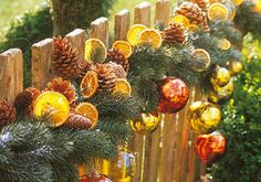 Christmas garland, outdoor decorations, fruit, evergreens, and ornaments
