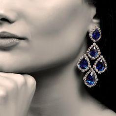 Everlasting Marina B sapphire and diamond earrings from EVERLASTING selection of 💙💦💙💦💙 Sapphire And Diamond Earrings, Sapphire Jewelry, Blue Sapphire, Diamond Jewelry, High Jewelry, Jewelry Box, Jewellery, Baroque Pearls, Unique Rings