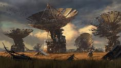 Abandoned Satellite Field, Isaac Yeram Kim on ArtStation at https://www.artstation.com/artwork/QaXml