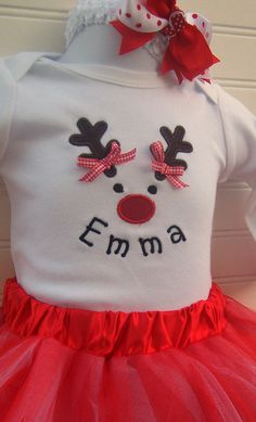 Baby Girl  Personalized Christmas Onesie Reindeer with headband and Tutu, also available as a T-Shirt. $34.00, via Etsy.