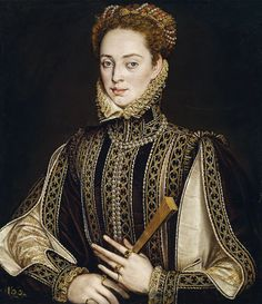 Portrait of A Lady. By Alonso Sánchez Coello, circa National Museum, Prado, Madrid. Mode Renaissance, Costume Renaissance, Elizabethan Costume, Renaissance Portraits, Renaissance Paintings, Renaissance Fashion, Renaissance Clothing, Historical Costume, Historical Clothing