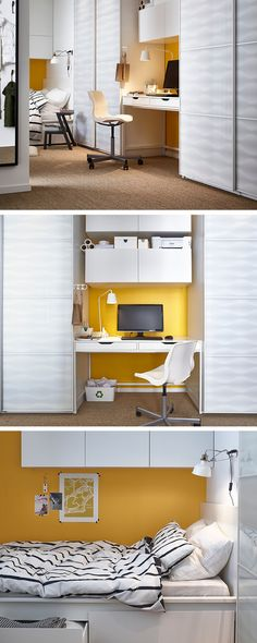 We saw a small hallway as a storage opportunity for the whole family. We built a desk with storage between two wardrobes, then added a few BESTÅ storage cabinets above. A chair on castors fits snuggly against the desk when not in use so it's not taking up extra room. With storage under and over the bed, you can create a bedroom, complete with plenty of places to put your things. Put a single bed lengthways along a wall and build around it. It saves maximum space and feels super snug.