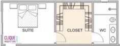 Closet: Aspectos Construtivos - Clique Arquitetura Adorei o banheiro depois do c. Master Bedroom Addition, Master Bedroom Plans, Master Bedroom Layout, Master Bedroom Closet, Bedroom Floor Plans, Bedroom Layouts, Small Room Bedroom, Bathroom Layout, Bathroom Closet