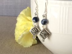 Blue Silver Filigree Earrings Blue Sodalite by CotonLilyCreations