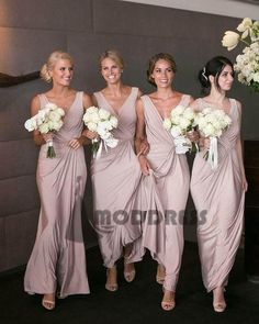 dusty pink v-neck long Bridesmaid Dresses Wedding Party Dresses,HS607 #bridesmaiddress#fashion#promdress#eveningdress#promgowns#cocktaildress