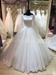 US$167.66-Long Sleeve Lace and Tulle Ball Gown Wedding Dress With Sleeves. http://www.doriswedding.com/long-sleeve-lace-and-tulle-ball-gown-with-illusion-back-pET_711506.html. Our best selection of elegant wedding dresses design for brides 2016. All are here #DorisWedding.com