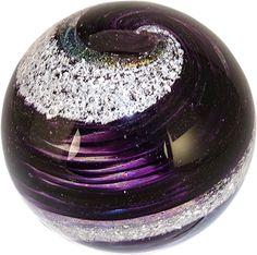 "Celebration Ashes 3"" Globe (Purple) Cremation Ash Glass Memorials www.celebrationashes.com"