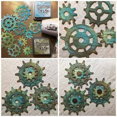 Steampunk Sizzix gears for mixed media collage (Marjie Kemper)