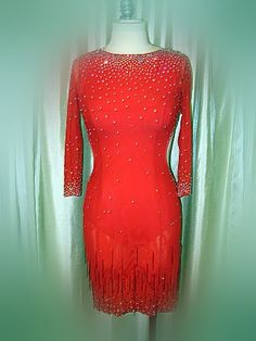 Red fringe latin dance dress