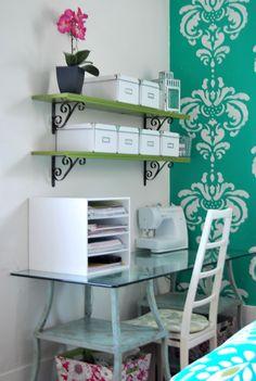 shelves for storage boxes above desk