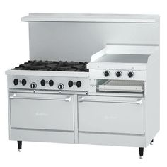 """Garland SunFire Series X60-6R24RR Liquid Propane 6 Burner Gas Range with 24"""" Raised Griddle/Broiler and Two Standard Ovens"""