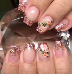 Image may contain: one or more people and closeup Cute Acrylic Nails, Glitter Nail Art, Colorful Nail Designs, Nail Art Designs, Gorgeous Nails, Pretty Nails, Wedding Nails Design, Nail Candy, Luxury Nails
