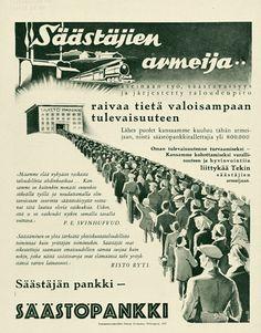 säästöpankki | Mainosmuseo. Suomalaisen mainonnan historia Advertising History, Old Commercials, Helsinki, Vintage Ads, Old Photos, Finland, Nostalgia, Memories, Retro