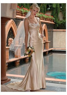 satin wedding dress.  I love the way this drapes. This is the fit I was thinking of, not the top but the skirt.