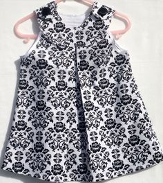 Baby Girl Dress  Damask White/Black by LoopsyBaby on Etsy, $22.00