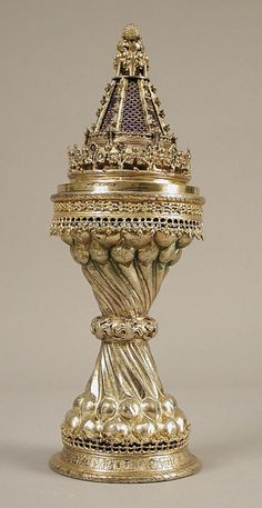 """treasures-and-beauty: """" Salt Cellar, early 20th century replica of a late 15th century item. British. Silver gilt, glass """""""