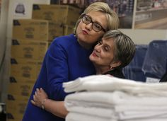 A woman of the people, she hugged Brana Marancic, an employee of Caesar's Palace in Las Vegas, Nevada, in February 2016. They appear to be in a storage closet. (Photo byJim Young / Reuters)  via @AOL_Lifestyle Read more: http://www.aol.com/article/2016/06/20/heres-why-voters-dont-like-donald-trump-and-hillary-clinton/21398108/?a_dgi=aolshare_pinterest#fullscreen