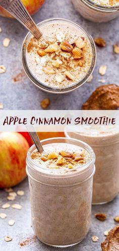 Apple Cinnamon Smoothie, Apple Smoothie Recipes, Apple Recipes Easy, Oat Smoothie, Breakfast Smoothie Recipes, Apple Smoothies, Cinnamon Apples, Healthy Smoothies, Green Smoothies