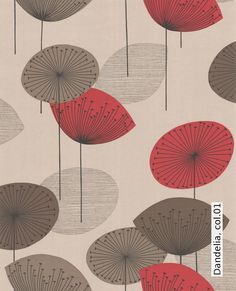 Shop for Wallpaper at Style Library: Dandelion Clocks by Sanderson. A fun and funky retro design, this is one of Sandersons best ever selling fabric. Dandelion Wallpaper, Clock Wallpaper, Dandelion Clock, Red Wallpaper, Fabric Wallpaper, 1950s Wallpaper, Antique Wallpaper, Botanical Wallpaper, Kitchen Wallpaper