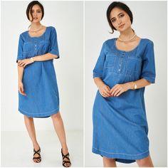 Relaxed Cotton Denim Shirt Folk Dress Short Sleeve Casual Plus UK 12 14 16 18 20 Half Sleeve Dresses, Half Sleeves, Denim Dresses, Denim Shirt, Boho Dress, Size Clothing, Plus Size Outfits, Folk, Shirt Dress