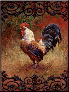 online shopping for Ceramic Tile Mural - Iron Gate Rooster I - Laurie Snow Hein - Kitchen backsplash/Bathroom Shower from top store. See new offer for Ceramic Tile Mural - Iron Gate Rooster I - Laurie Snow Hein - Kitchen backsplash/Bathroom Shower Rooster Painting, Rooster Art, Red Rooster, Rooster Kitchen Decor, Rooster Decor, Rustic Kitchen, French Country Kitchens, French Country Decorating, Country French