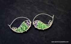 Sterling silver hoops with jade and amethyst beads by Caprilicious Jewellery