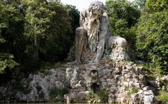 THE STATUE OF APENNINE BY GIAMBOLOGNA  Photograph by Antonio Scaramuzzino. The Villa di Pratolino was a Renaissance patrician villa in Vaglia, Tuscany, Italy. It was mostly demolished in 1820 and its remains are now part of Villa Demidoff, 12 km north of Florence,