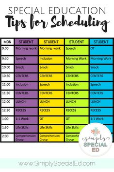 Simple Schedule Templates special education scheduling tips and templates Special Education Schedule, Teaching Special Education, Kids Education, Texas Education, Elementary Education, Special Education Organization, Physical Education, Higher Education, Nutrition Education