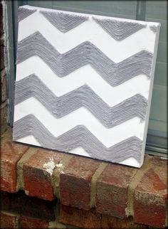 Tattered and Inked: Yarn Chevron Canvas