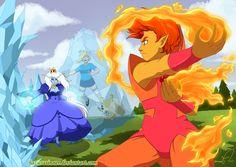 Flame Prince VS Ice Queen by *HazuraSinner on deviantART