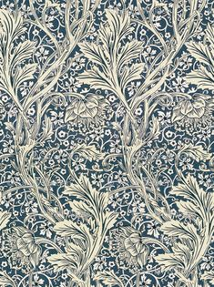 Arcadia ~ Coastal ~ William Morris custom wallpaper by peacoquettedesigns for sale on Spoonflower William Morris Patterns, Motif Art Deco, Victorian Wallpaper, Bathroom Wallpaper, Wood Patterns, Custom Wallpaper, Beautiful Wall, Wall Treatments, Textured Walls