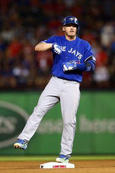 Josh Donaldson of the Toronto Blue Jays celebrates after hitting a. Blue Jay Way, Go Blue, Hockey, Baseball Players, Mlb Teams, Sports Teams, Martin Perez, Mlb Postseason, Josh Donaldson