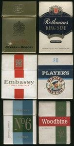 Cigarette packets from the 1960s: Benson & Hedges, Rothmans King Size, Embassy Tipped, Players Navy, Players No.6 and Woodbine……not that I've ever smoked!