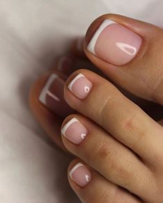 Hair french tip toe nails, french tip nails with design on ring . - Hair french tip toe nails, french tip nails with design on ring finger, french tip - Pretty Toe Nails, Cute Toe Nails, Love Nails, How To Do Nails, My Nails, Simple Toe Nails, Style Nails, Acrylic Toe Nails, Almond Acrylic Nails