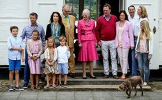 Queen Margrethe II, Prince Henrik, Crown Princess Mary, Crown Prince Frederik, Princess Josephine, Prince Christian, Princess Isabella, Prince Vincent of Denmark, pose for photographers at the annual summer photo call for The Danish Royal Family at Grasten Castle on July 15, 2016 in Grasten, Denmark.