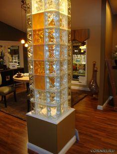 Learn 5 imaginative uses of glass blocks (ice bar, column, banister, floor and laundry room window). Glass Blocks Wall, Glass Block Windows, Glass Brick, Curved Glass, Uses Of Glass, Glass Block Shower, Hotel Lobby Design, Loft Wall, Interior Columns