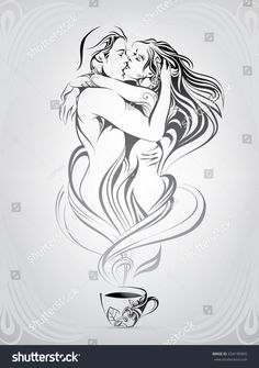 Portfolio von nutriaaa auf Shutterstock Silhouette of a loving couple from hot steam Couple Art, Love Couple, Couple Illustration, Illustration Art, Couple Drawings, Art Drawings, Valentines Day Drawing, Paar Tattoo, Hot Steam