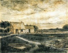 Vincent Van Gogh Barn With Moss-covered Roof oil painting reproductions for sale