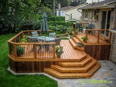 Stain on a deck will just persist for a few decades. Patio decks are normally made of wood and wood pallets. The deck has turned into a revered outdoor space of the contemporary American home. If your deck is made… Continue Reading → Patio Plan, Deck Plans, Budget Patio, Deck Design Plans, Pergola Plans, Two Level Deck, 2 Level Deck Ideas, 2 Tier Deck Ideas, Unique Deck Ideas