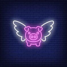 Neon Wallpaper, Iphone Wallpaper, Neon Signs Quotes, Neon Words, Neon Logo, Neon Design, Flying Pig, Neon Light Signs, Purple Aesthetic